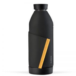 Closca - Juoda stiklinė gertuvė su sahara spalvos silikonine juostele, 420ml