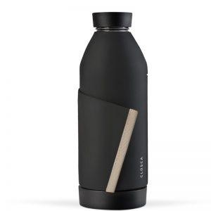 Closca - Juoda stiklinė gertuvė su pilkos spalvos silikonine juostele, 420ml